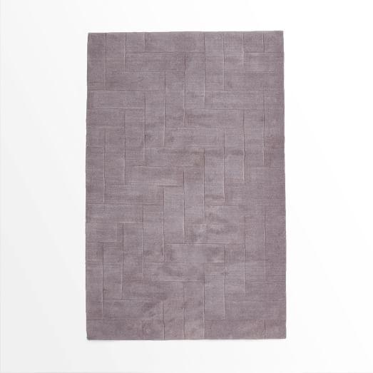 Solid Angled Basketweave Wool Rug, 3'x5', Dark Iris