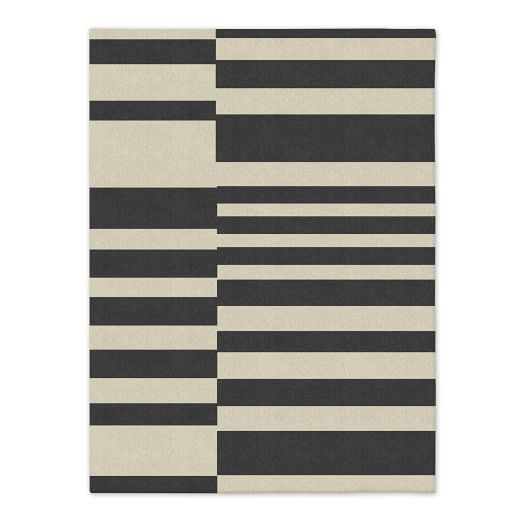 SPO Offset Stripe Dhurrie, Iron, 9'x12'