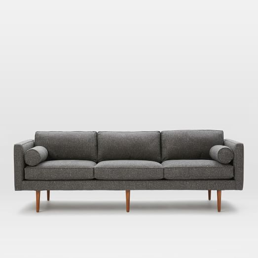 Monroe Mid-Century Grand Sofa, Tweed, Salt + Pepper