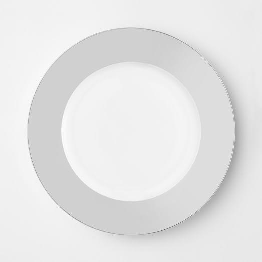 Metallic-Banded Dessert Plate, Silver, Set of 4