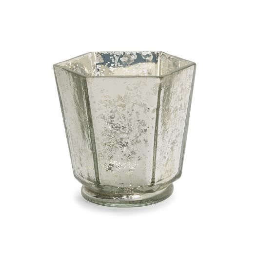 Mercury Glass Candle Holder, Hexagon, Silver