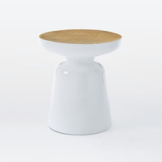Martini Side Table - Two Tone, White/Antique Brass
