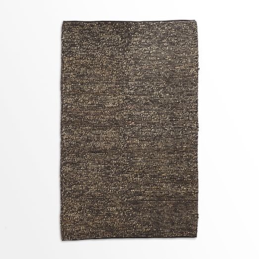 Mini Pebble Jute Wool Rug, 5'x8', Natural/Slate