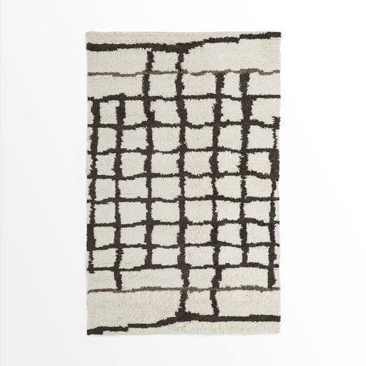 Steven Alan Grid Shag Rug, 3'x5', Ivory