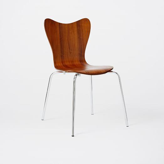 Scoop Back Chair, Walnut/Chrome