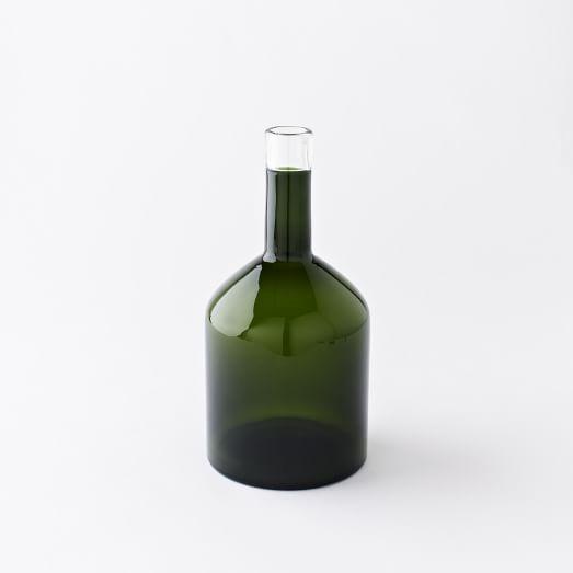 Green Glass Bottle Collection, Dark Green Transparent, Wide Bottle