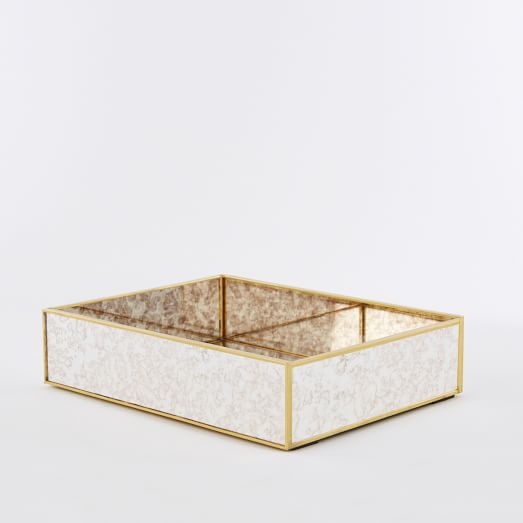 Foxed Mirror Large Tray