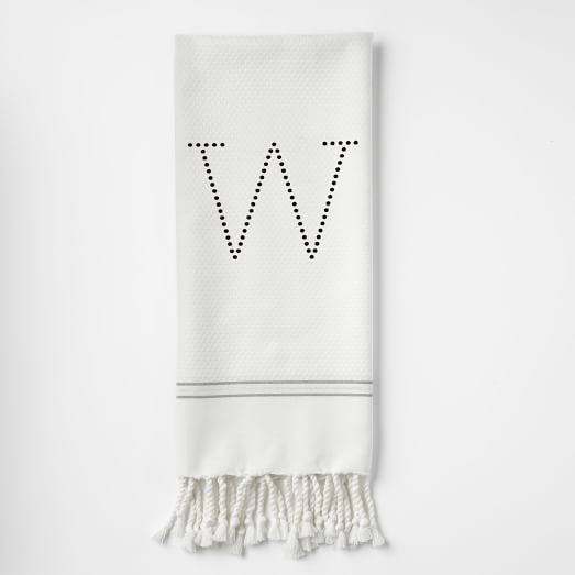 Metallic Stripe Hand Towel-Digital Print Option, Stone White/Feather Gray