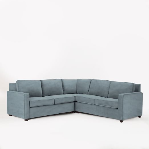 Henry Set 1 (Corner, 2 One-Arm Sofas (Left, Right), Performance Velvet, Steel Blue
