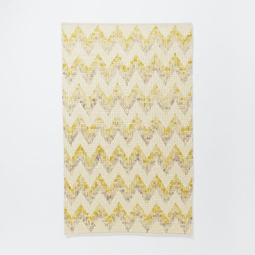 Watercolor Tide Wool Rug, 3'x5' Horizon