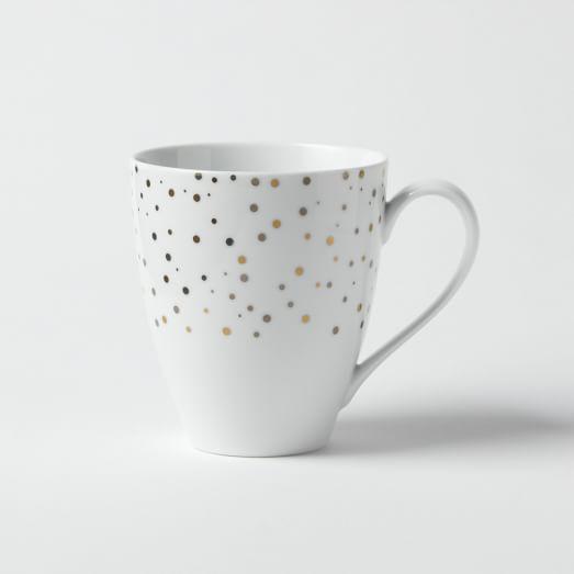 Kamal Snow Mug, Set of 4, Gold/Platinum