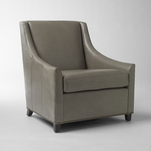 Sweep Arm Chair, Elephant, Leather, Nailhead
