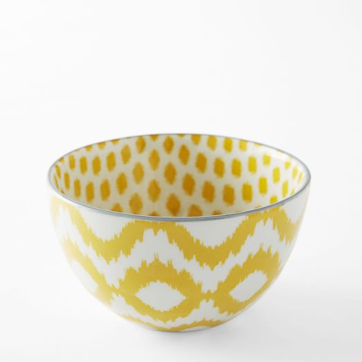 Ikat Pad Printed Bowl, Ikat Dot, Yellow/Gray Rim