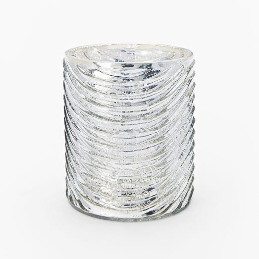 Mercury Glass Pattern Votives, Wave, Silver