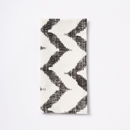 Ikat Zig Zag Printed Napkins, Set of 4, Iron