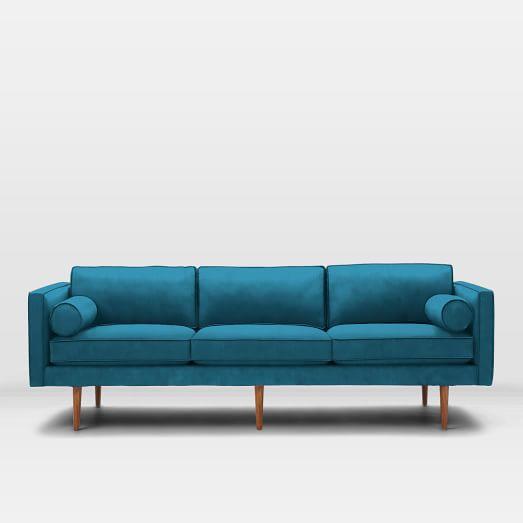 Monroe Mid-Century Grand Sofa, Luster Velvet, Celestial Blue