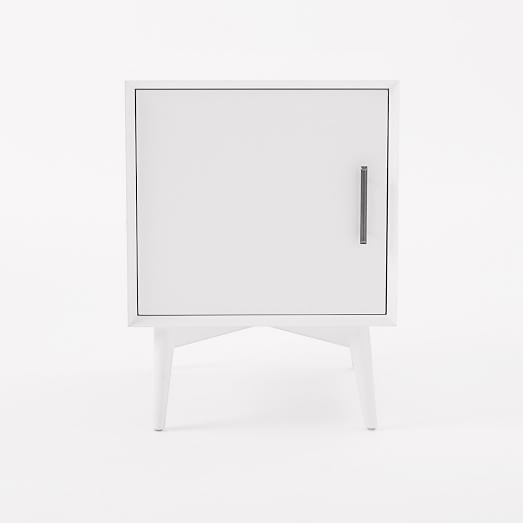 Mid-Century Media - 1-Door Side Table (White)