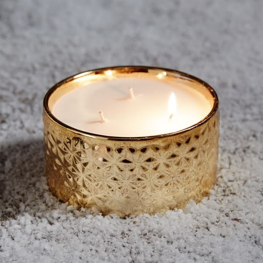 3 Wick Candle, Gold, Gilded Amberleaf