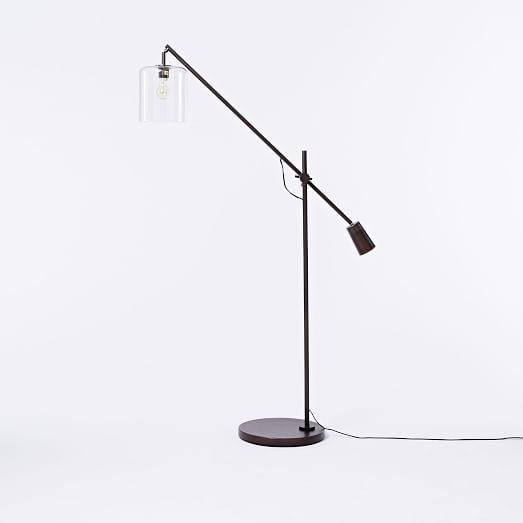 Adjustable Glass Floor Lamp, CFL