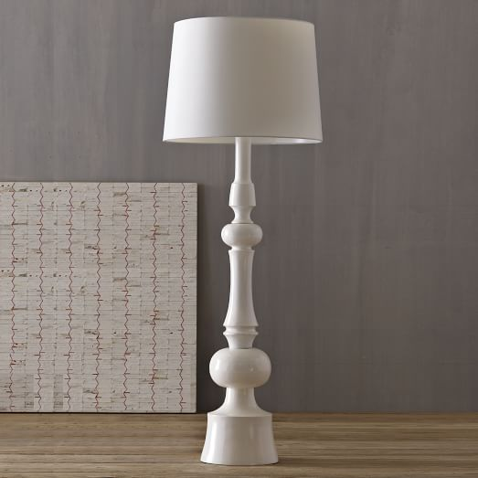 Turned Floor Lamp, White/White
