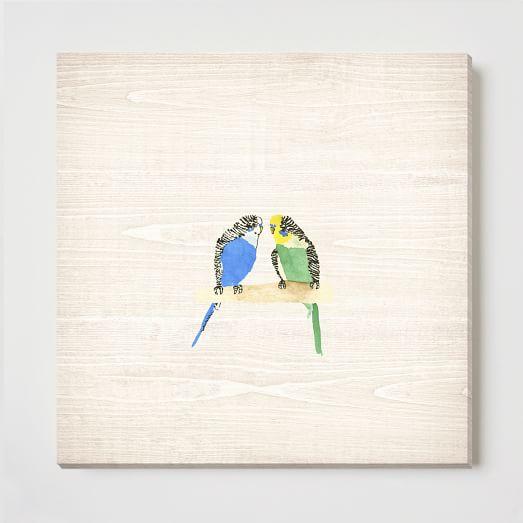 Birch Print, Parakeet Pair
