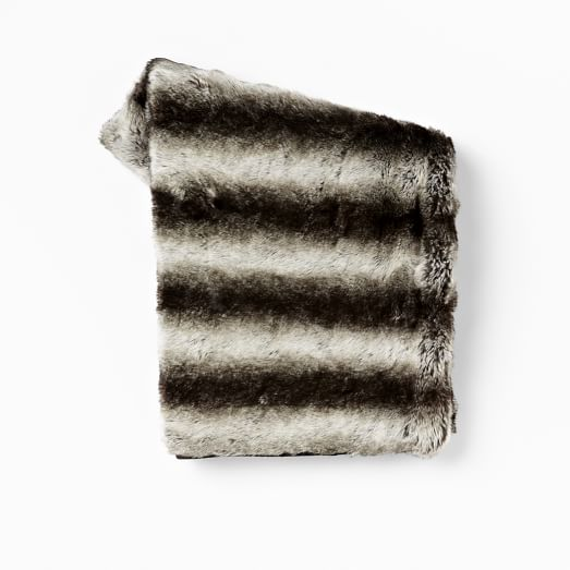 Ombre Faux Fur Throw, Gray