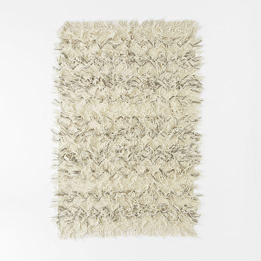 Chevron Wool Shag Rug, 3'x5', Ivory