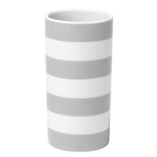 Porcelain Bath Tumbler, Stripe, Gray/White
