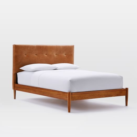 Mid-Century Tufted Bed - Queen, Leather, Saddle