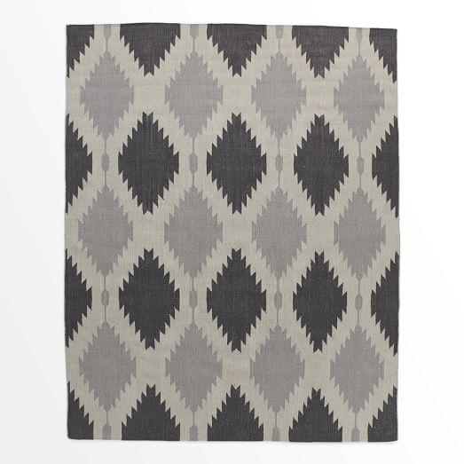 Phoenix Wool Dhurrie Rug, Iron, 9'x12'