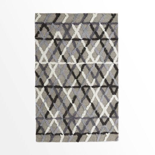 Steven Alan Crisscross Shag Rug, 3'x5', Platinum