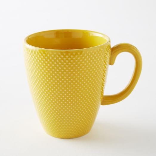 Textured Dinnerware, Mug, Set of 4, Yellow, Dot
