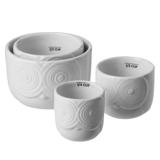Owl Collection Measuring Cups, White