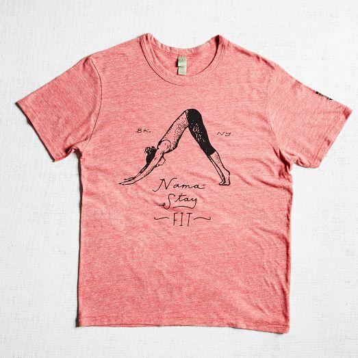 The Fitness Guru T-Shirt, Namaste, Red, Extra Small