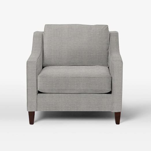 Paidge Chair, Poly Fill, Crossweave, Steel/Ivory, Taper Pecan Legs