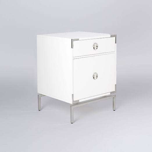 Malone Campaign Storage Nightstand, White Lacquer