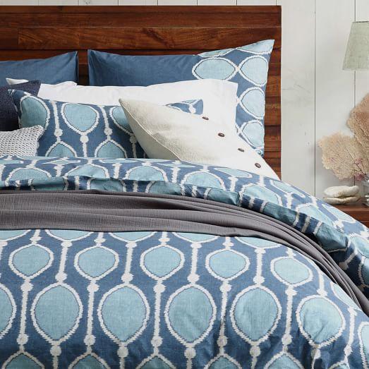 Organic Bead Print Ikat Duvet, Twin, Ming Blue