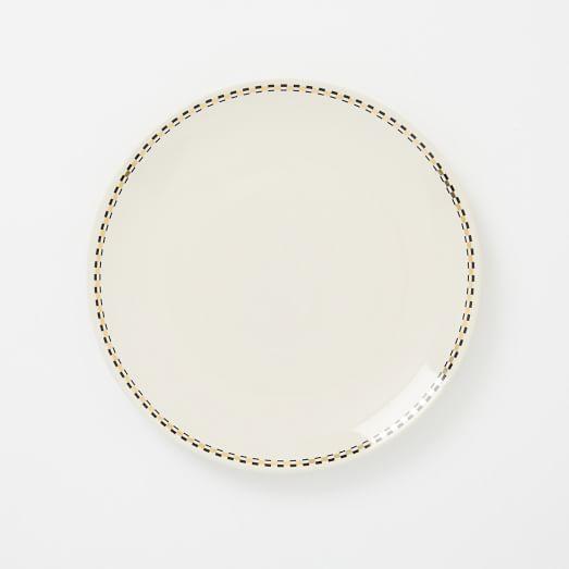 Fishs Eddy Salad Plate, Black + Gold Narrow Rim