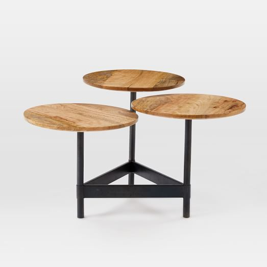 Tiered Circles Coffee Table, Raw Mango/Hot Rolled Steel