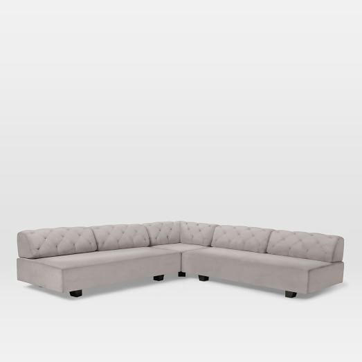 Tillary Tufted Set 1- ( 2 Bases.2 Back Cushions, Ottoman, Corner Cushion), Performance Velvet, Dove Gray
