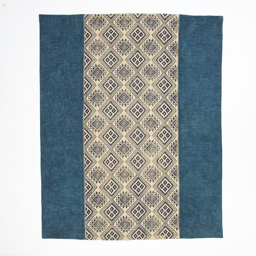 Hill Block Printed Cotton Dhurrie, 9'x12', Ming Blue