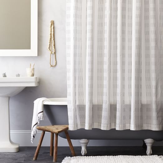 Dotted Stripe Shower Curtain, Slate