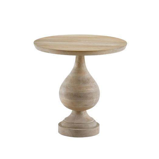 Turned Pedestal Side Table, Natural