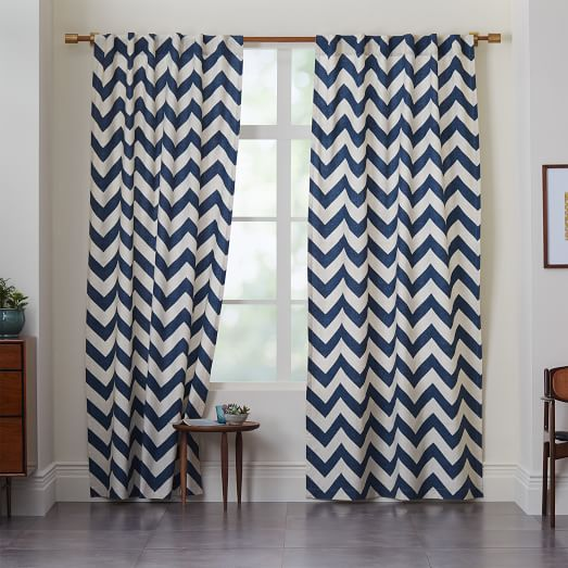 Cotton Canvas Zigzag Curtain, Blue Lagoon, 48