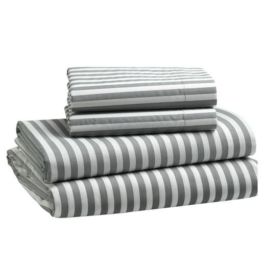 Stripe Sheet Set, Twin, Feather/White