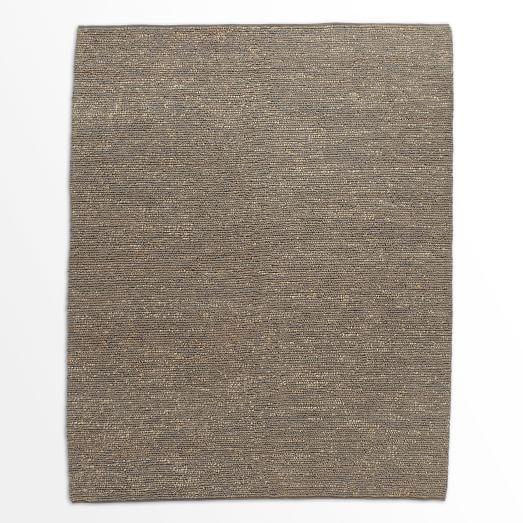 Mini Pebble Jute Wool Rug, 9'x12', Natural/Soot
