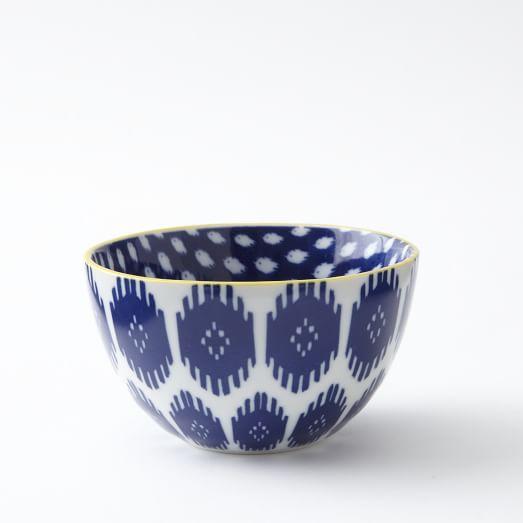 Ikat Pad Printed Bowl, Shields, Medium, Blue/Yellow