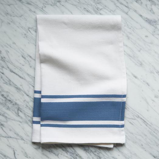 Square Dye Stripe Kitchen Towel, Denim
