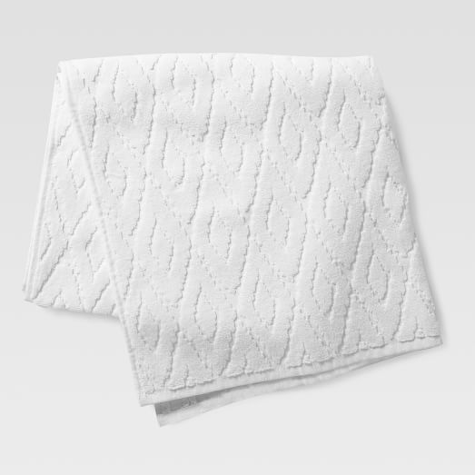 Organic Sculpted Diamond Bath Towel, White