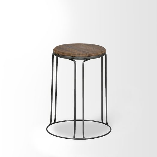 Wire Base Stool, Natural, Set of 2